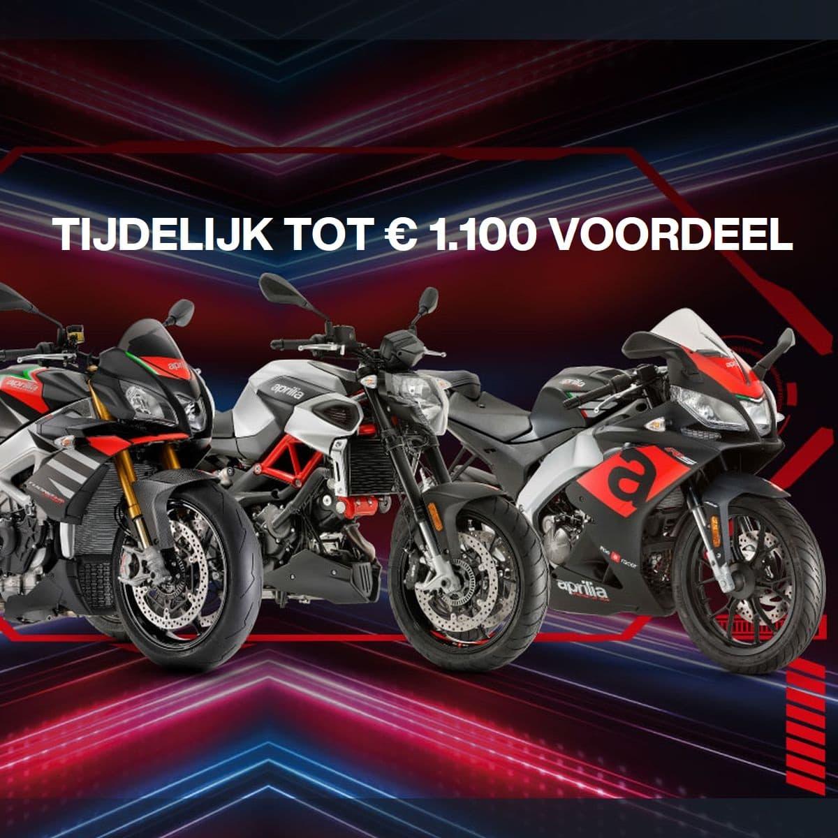 Tijdelijk tot €1.100 voordeel op alle Aprilia-motorfietsen.